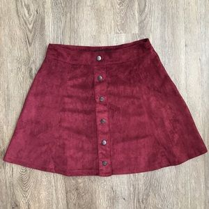 Faux Suede Button Front Minj Skirt